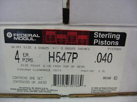 Federal Mogul Sealed Power H547P .040 Pistons, set of 4, new in box H547P 81jp
