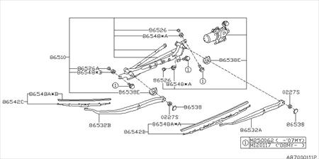 This part can be found in the diagram as Part Code: 86532A New OEM Subaru 86532AG02A ARM ASSEMBLY-WINDSHIELD WIPER DRIVER 2005-2007  86532AG02A